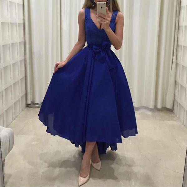 New Arrival Royal Blue Chiffon Short Homecoming Dresses 2018 High Low Prom Dress, Wedding Party Gowns , Little Girls Gowns