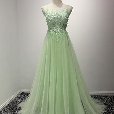 A-Line Appliques Prom Dress,Long Prom Dresses,Charming Prom Dresses,Evening Dress Prom Gowns, Formal Women Dress,prom dress,2018 Mint Green Tulle Formal Evening Dress, Wedding Party Gowns