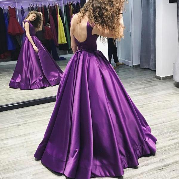 Purple Satin Prom Dress,Long Prom Dresses,Prom Dresses,Evening Dress, Evening Dresses,Prom Gowns, Formal Women Dress,prom dress