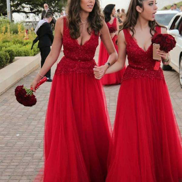 V neck Tulle Lace Red Prom Dresses Long Formal Evening Gown Junior Senior Cheap Party Dress Bridesmaid Dresses Custom Plus size 2018,Wedding Party Gowns