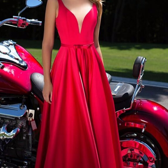 New A Line Prom Dresses,Appliques Beads Dress, Floor Length Prom Dress,Deep V Neck Prom Dresses,Formal Costume Made Red Prom Dress,Sexy Elegant Evening Gowns