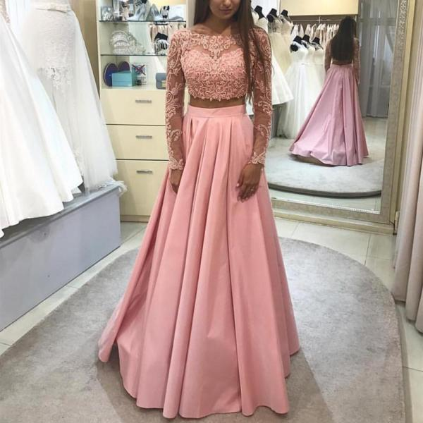 Elegant Lace Long Sleeves Ball Gowns Prom Dresses Two Piece, 2 Pieces Prom Dresses, Long Sleeves Prom Dresses, Blush Pink Prom Gowns, Prom Dress fo Teens 2018