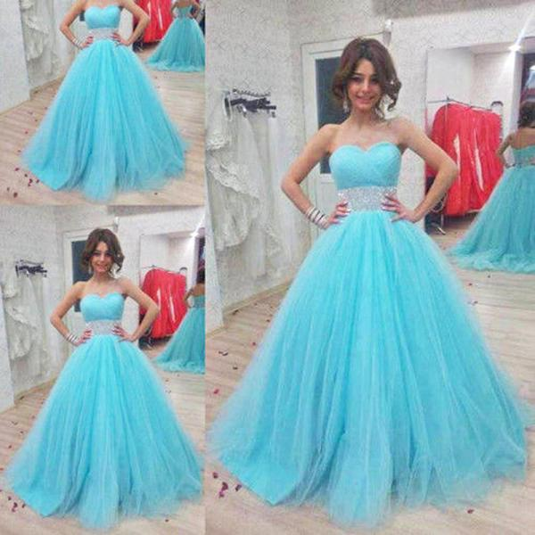 Sweet 16 Quinceanera Dresses for 15 Years Formal Prom Dress Party Ball Gowns 2018 Plus Size Beaded Tulle Wedding Party Dress, Beaded Quinceanera Gowns
