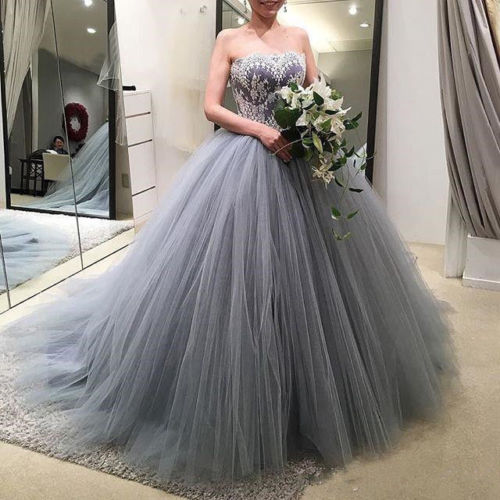 2018 Grey Lace Tulle Ball Gown Quinceanera Dresses Sweet 15 16 Dresses Prom Gown ,Plus Size Lace Quinceanera Dress , Wedding Women Party Gowns