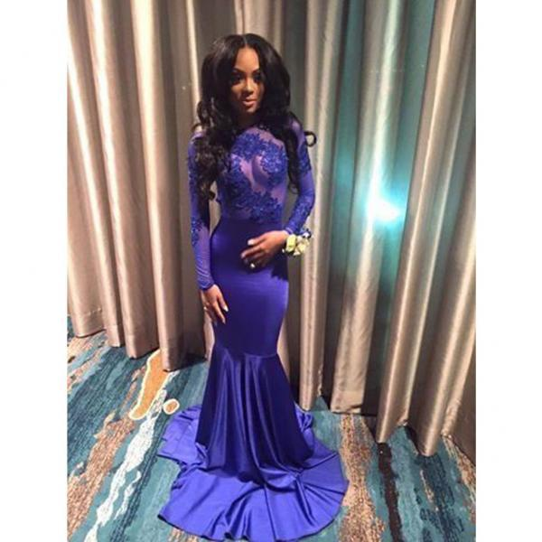 Royal Blue Lace Prom Dress, 2017 Prom Dresses, Long Sleeve Mermaid Prom Dress, Jewel Neck Lace Party Dress, Elegant Royal Blue Evening Dress, See Through Long Prom Dress, Vestidos De Longo, Formal Party Dress With Long Sleeve, Illusion Prom Dress 2018 Customize