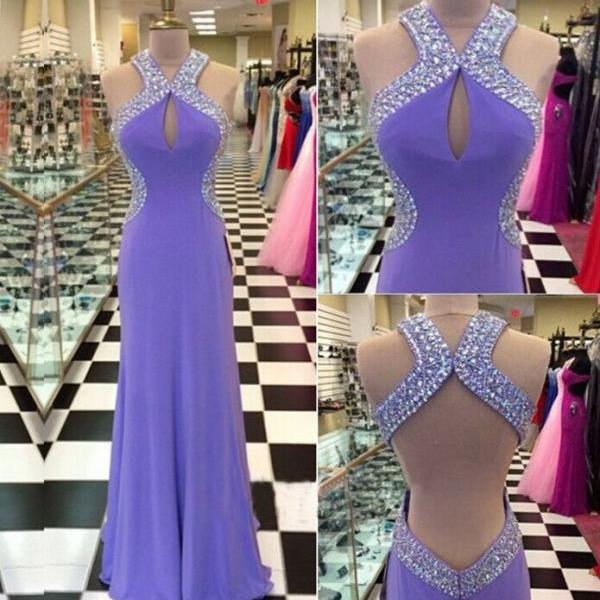 Halter Keyhole Beaded Mermaid Floor-Length Prom Dress, Evening Dress Featuring Open Back,2018 Sexy Backless Long Evening Dress,Formal Women Gowns , Plus Size Evening Dresses