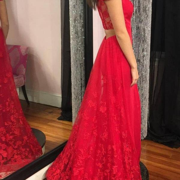 Red Prom Dresses Off-the-shoulder Sheath Lace Long Slit Prom Dress,2018 Sexy Women Party Dresses, A Line Women Pageant Gowns ,Off Shoulder Wedding Guest Dresses
