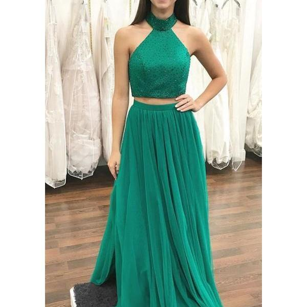 Two Piece Prom Dresses High Neck A-line Floor-length Beautiful Prom Dress,Halter Beaded Long Prom Gowns ,Custom Made Prom Gowns , Wedding Guest Gowns