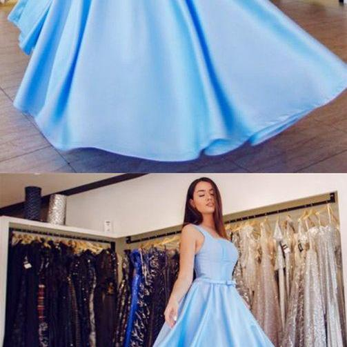 A-Line Square Neck Floor-Length Light Blue Satin Prom Dress with Bow 2018 Plus Size Wedding Party Gowns ,Girls Pageant Gowns ,Custom made Girls Gowns