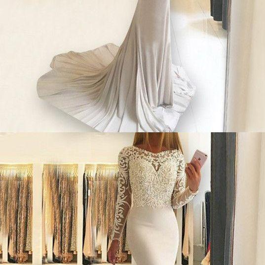 mermaid ivory prom evening dresses with long sleeves appliques, fashion formal party gowns for special occasion ,Muslim Wedding Women Dresses, Pageant Gowns ,Girls Party Dresses