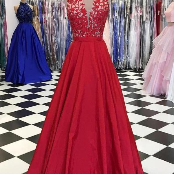 RED V NECK LACE APPLIQUE LONG PROM DRESS, RED EVENING DRESS 2018 Plus Size Wedding Guest Gowns ,Women Party Gowns ,A Line Women Party Gowns