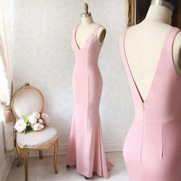 Simple Pink V-Neck Mermaid Formal Dress,Straps Pink Prom Dress 2018 Plus Size Womne Party Dresses Sexy Back Open Evening Dresses, Wedding Party Dresses, Mermaid Evening Dresses, Custom Made Women Gowns