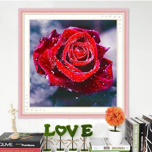 Full,Diamond Embroidery,Flower,Rose,5D,Diamond Painting,Cross Stitch,3D,Diamond Mosaic,Needlework,Crafts,Christmas,Gift,home decoration accessories,