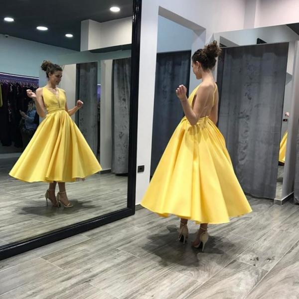 Backless Satin Midi Prom Dress in Yellow , Deep V neck Short Party Ball Gown,Tea Length Wedding Party Gowns ,Custom Made Party Gowns ,Yellow Short Cocktail Dresses .