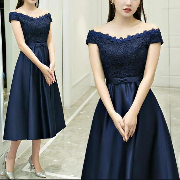 Beautiful Navy Blue Satin Tea Length Elegant Simple Bridesmaid Dress, Bridesmaid Dress 2018, Long Party Dress, Formal Dress.Plus Size Women Party Gowns ,Long Prom Gowns