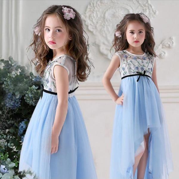 Flower Girls Dresses, 2018 New Arrival High Low Wedding Girls Gowns ,Sky Blue Tull Child Gowns ,Beaded Pageant Gowns ,Flower Gowns ,Plus Size Girls Gowns ,Little Girls Pricess