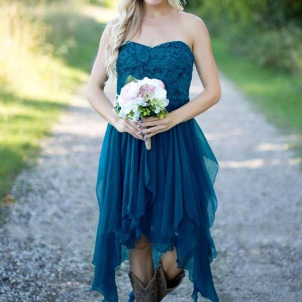 Teal High Low Bridesmaid Dredd Strapless Chiffon Short Bridesmaid Gowns ,Short Prom Gowns ,Short Party Dress,Women Wedding Prom Gowns
