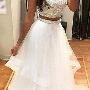 White Tulle Two Pieces Prom Dresses, Beaded Long Prom Dress,Formal Women Dress, 2 Pieces Homecoming Dress, Plus Size Prom Gowns