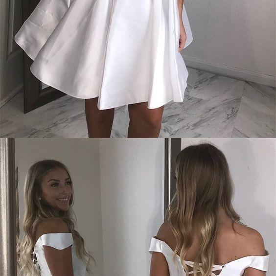 White Short Homecoming Dress, Off Shoulder Satin Cocktail Gowns , Girls Party Gowns ,Wedding Women Gowns ,Plus Size Prom Dresses