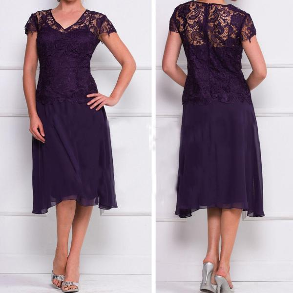 Short Mother Of The Bride Dress Purple Caped Sleeve Wedding Women Gowns ,Wedding Mother Dresses