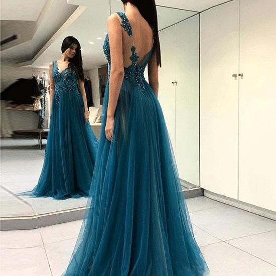 New Arrival Dark Green Tulle Long Prom Dresses Lace Appliqued Formal Evening Dress Prom Gowns ,Off Shoulder Sexy Prom Gowns