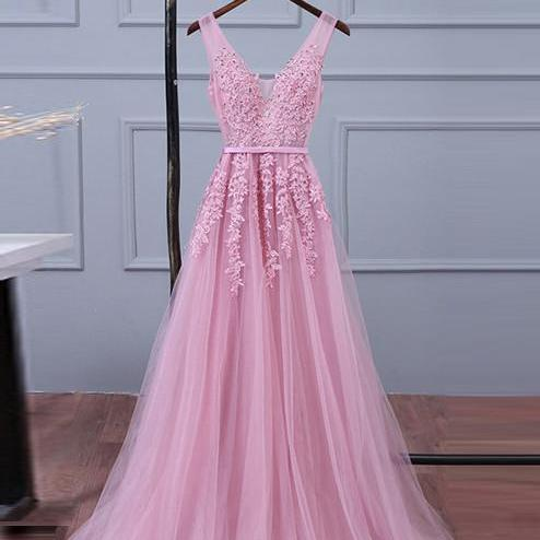 Pink Lace Prom Dresses,V Neck Evening Dress,Women Formal Dress,Banquet Gowns,Sexy V-Neck Evening Gowns ,Plus Size Formal Prom Dresses