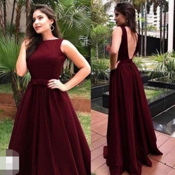 Elegant Scoop Burgundy Backless Prom Dress, Long Evening Dress, Wedding Party Gowns ,Summer Party Gowns ,Sexy Backless Women Gowns