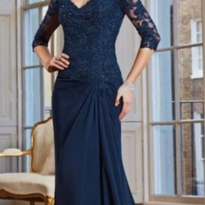 Navy Blue Half Sleeve Lace Mother Of The Bride Dress, Long Prom Dresses, Formal Evening Party Gowns ,Custom Made Women Gowns