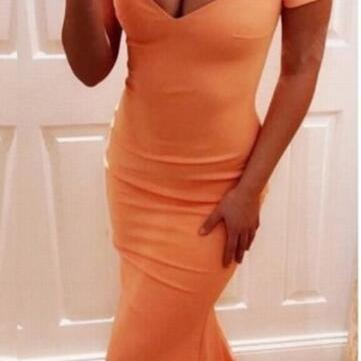 Sexy Mermaid Orange Prom Dress, Fashion Strapless Prom Dress, Formal Evening Dresses,Plus Size Women Gowns .