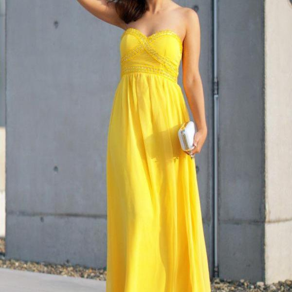 Off Shoulder Yellow Long Prom Dress,Beaded Chiffon Prom Dresses,Sweet 16 Homecoming Dress ,Formal Evening Dresses, Women Party Gowns .