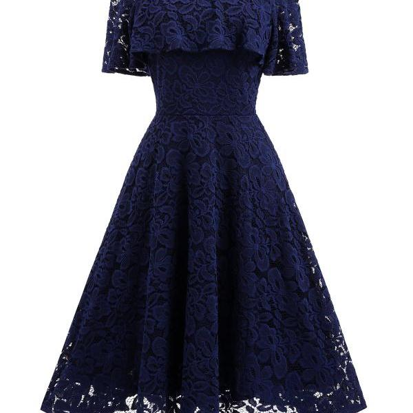 Navy Blue Short Soft Lace Prom Dress Off Shoulder Women Party Gowns , Short Bridesmaid Gowns , Party Dress . A Line Wedding Gyuest Gowns