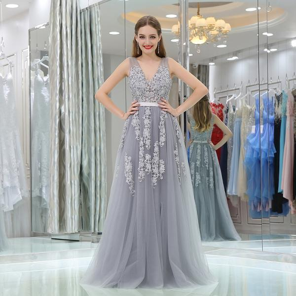 Vintage Gray Lace Appliqued Long Prom Dress, Gray Prom Gowns , Sexy v-Neck Party Gowns .Formal Evening Dress