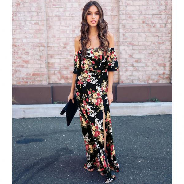 Off Shoulder Floral Flowers Prom Dress , Short Sleeve Boho Dress, Cheap Long Flowers Prom Gowns , Side Split Prom Party Gowns