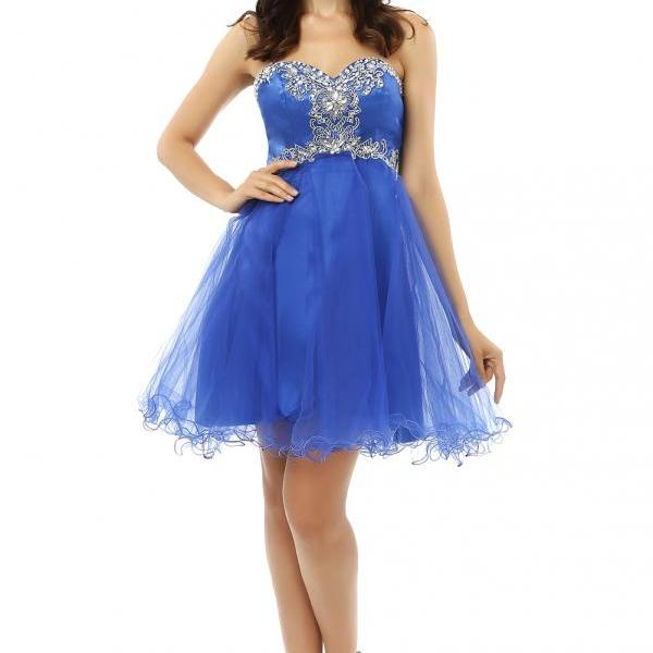 New Arrival Blue Crystal Short Party Dress Sweetheart Tulle Mini Homecoming Dress ,Off Shoulder Graduation Gowns. A Line Prom Dress