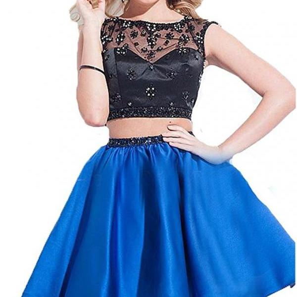 Cheap Black And Blue Satin Homecoming Dress, Top Lace Black Corset Prom Dress, Two Pieces 16 Graduation Dress