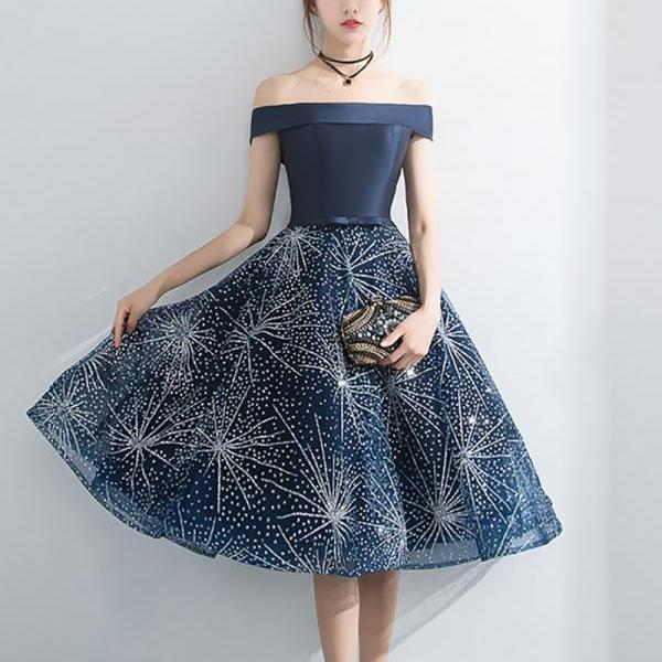 Ball Gowns Short Homecoming Dress Navy Blue Sequin Mini Cocktail Party Dress, Mini Prom Gowns 16