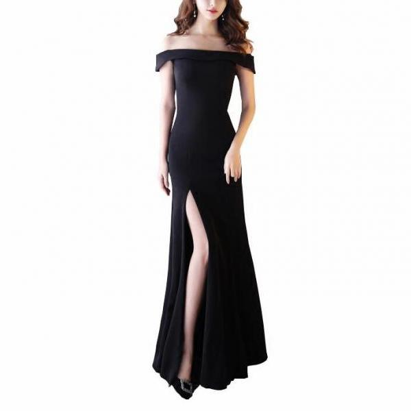 Simple Black Satin Long Prom Dress With Slit ,Fashion Women Dresses,Florr Length Pageant Dress
