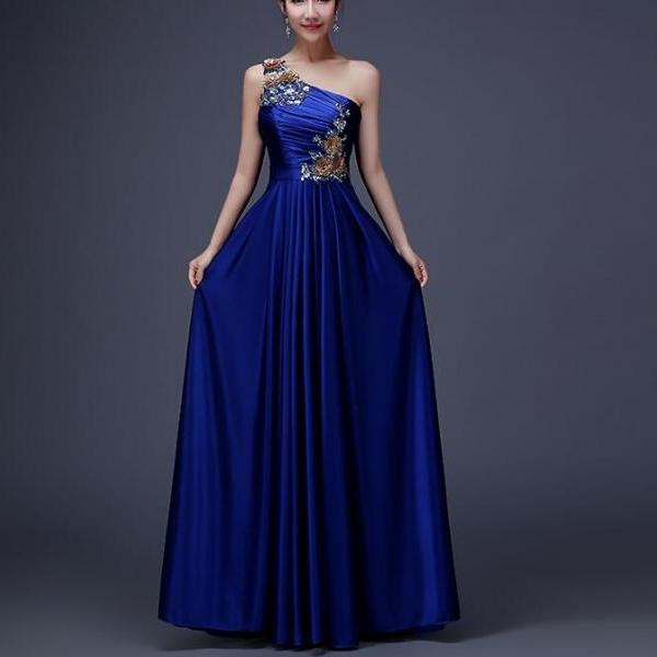 One-Shoulder Royal Blue Satin Prom Dresses Beaded Fashion Evening Party Gowns .