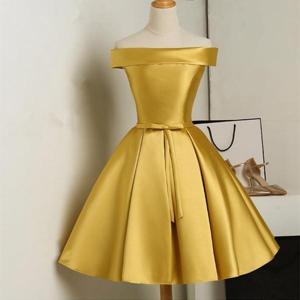 Gold Satin Short Bridesmaid Dress, A lINE Satin Short Homecoming Party Gowns .