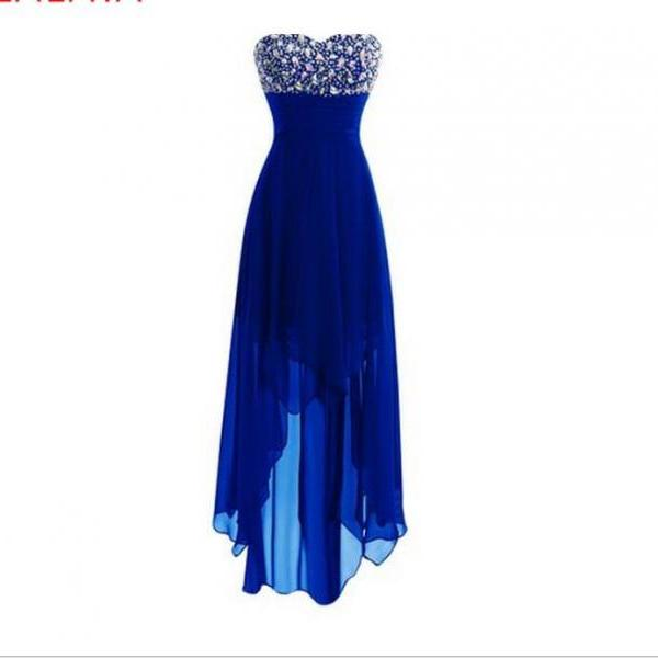 A Line Crystal Beaded Royal Blue High Low Prom Dresses,Cheap Women Party Gowns .Hi-ho Homecoming Dress