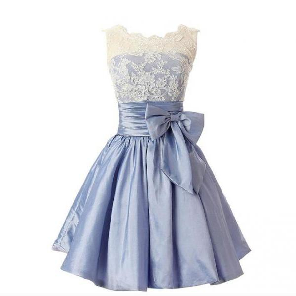 A Line White Lace Corset Homecoming Dress With Bow ,Light Blue Satin Short Homecoming Dresses,Short Party Gowns