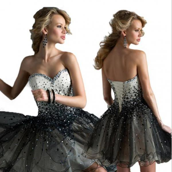 Sparkly White And Black Beaded Short Homecoming Dress Sexy Ball Gown Cocktail Party Gowns