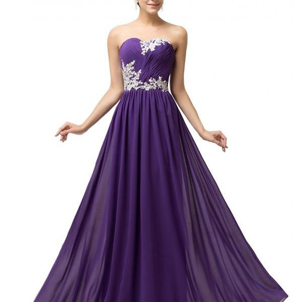 A Line Purple Chiffon Pleated Long Prom dresses With Appliqued Beaded Floor Lenght Women Prom Gowns