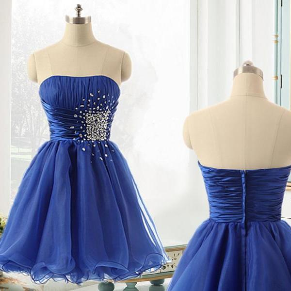 Off Shoulder Royal Blue Beaded Ruffle Short Homecoming Dress A Line Cocktail Party Gowns