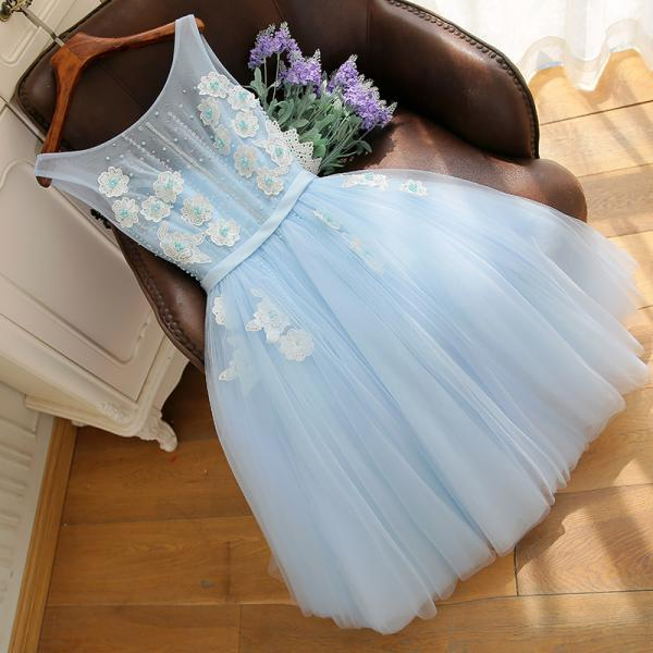 Sky Blue Tulle Homecoming Dress With A Line ,Short Cocktail Dress, Women Party Gowns