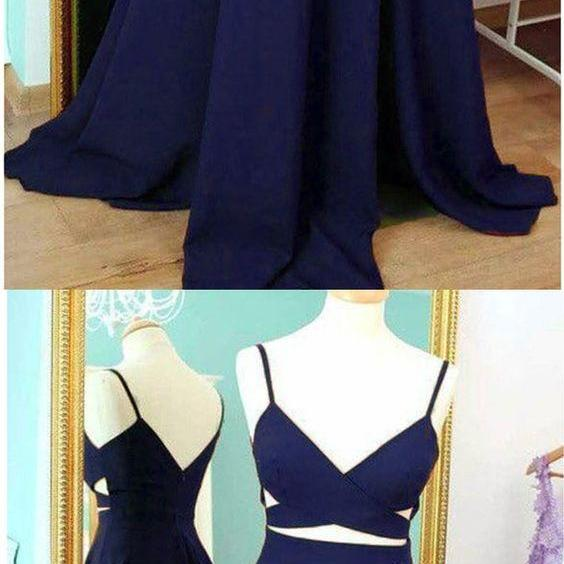 Sexy A Line Two pieces Prom Dress Long Navy Blue Satin Formal Evening Dresses