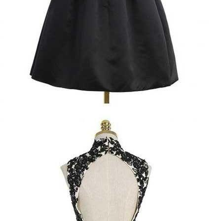 New Arrival Black High Neck Lace Prom Dress Short Women Satin Homecoming Dress Knee-Length