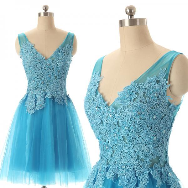 New Arrival Blue Lace Appliqued Beaded Lace Prom Dress Short, Sexy V-Neck Short Homecoming Dress, Women Cocktail Party Dress Mini