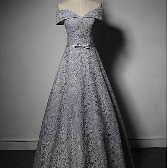 Gray Lace Long Prom dress, Off Shoulder Cheap Prom Dresses, Sexy A lINE Women Party Dress, Fashion Formal Evening Dress