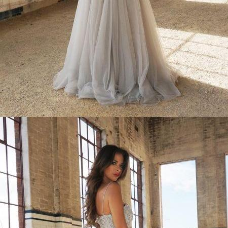 A Line Gray Beaded Corset Tulle Floor Length Prom Dress Off Shoulder Women Evening Dress, Formal Prom Dress